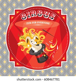 Circus card with a rabbit vector illustration