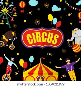 Circus, carnival elements and characters. Vector illustration for greeting card, poster, banner, invitation template with bear, carousel, acrobat, clown, tent. Isolated objects.