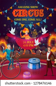 Circus carnival show poster with performers, magician, clown, acrobat and monkey jugglers on arena, decorated with festival flags and fire rings. Entertainment, performance and amusement events vector