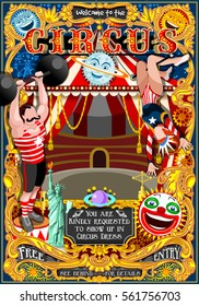 Circus carnival tent marquee amusement family theme park poster. Woman acrobat artist show invite set. Creative design vector illustration fairground collection