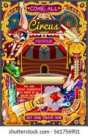 Circus carnival tent marquee amusement family theme park poster acrobat trapeze artist show invite set. Creative design vector illustration collection