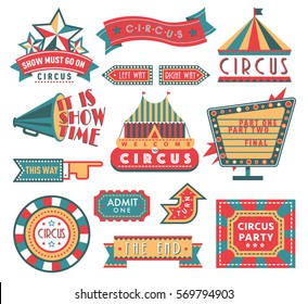 Circus carnival vintage banner fair labels banner vector sign fun illustration isolated on white, circus tent and ad labels for poster