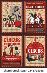 Circus and carnival vintage poster with retro big top tent, acrobats and animals on cirque arena. Vector elephant, monkey juggler, seal performing trick with balls, strongman, horse rider, charmer