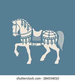 Circus or Carousel Horse. Graphic arts or paper cutting template.