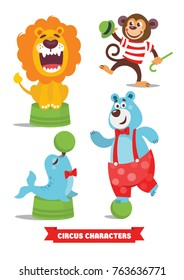 Circus Cartoon Characters Set. Lion, monkey, blue bear, seal with green ball, acrobat. A bright festive illustration for ticket, invitation, card, flyer, promotion booklet