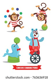 Circus Cartoon Characters Set. Monkey, blue bear, seal with green ball, acrobat. A bright festive illustration for printing and children's holidays.