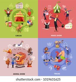 Circus cartoon concept with circus magic show animal show and tricks descriptions vector illustration
