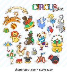 Circus cartoon stickers collection with chapiteau tent and trained wild animals. Vector doodle illustration set