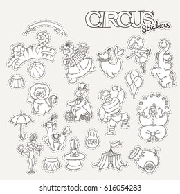 Circus cartoon stickers collection with chapiteau tent and trained wild animals. Vector doodle coloring set