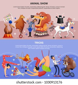 Circus cartoon two banner set horizontal and colored with animal show and tricks headlines vector illustration
