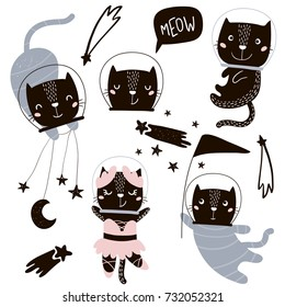 Circus cats astronauts vector clipart. Cute cartoon characters