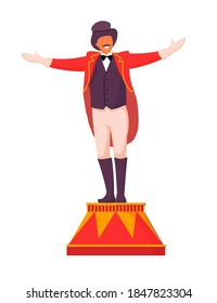 Circus ceremony master on pedestal on white background