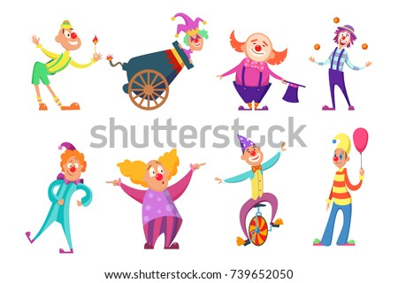 circus characters funny clowns action poses のベクター画像素材