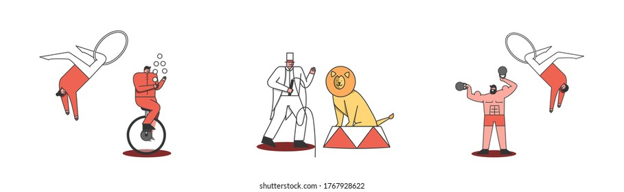 Circus characters set. Juggler, acrobat, strongman and tamer with lion on white background. Cartoon people making tricks for circus performance. Flat design vector illustration
