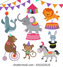 Circus child show cartoon animals vector set. Circus carnival with animals lion bear, elephant and monkey illustration