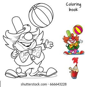 Circus clown artist with ball. Coloring book. Cartoon vector illustration