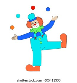 Circus Clown Artist In Classic Outfit With Red Nose And Make Up Performing Juggling Stunt For The Circus Show