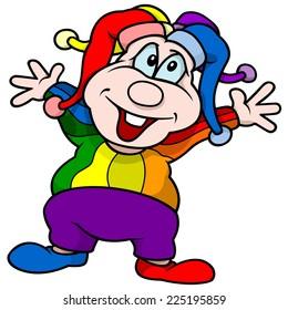 Circus Clown - Colored Cartoon Illustration, Vector