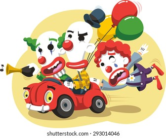 Circus Clown driving a Car with balloons and horn in a performance event cartoon illustration