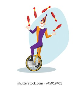 Circus Clown Juggler on a Unicycle