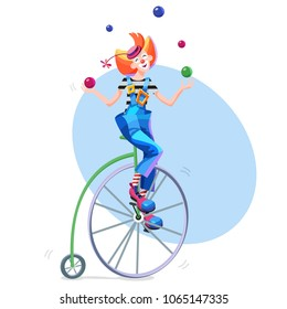 Circus clown juggles balls on a retro bike. Circus juggler in a hat with a flower and a striped jacket. Clown balancing on retro bicycle. Cartoon vector illustration.