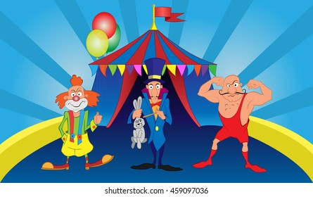 Circus clown magician strongman