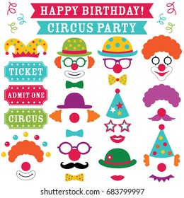 Circus clown party vector photo booth props (hats, noses, glasses)