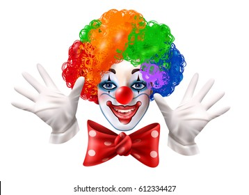 Circus clown smiling face with hands multi color wig and red bow realistic close-up portrait vector illustration