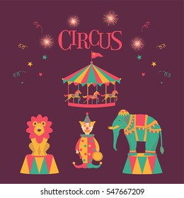 Circus with clown, trained lion, elephant and carousel. Vector illustration.