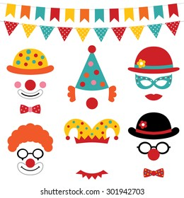 Circus and clown vector photo booth props