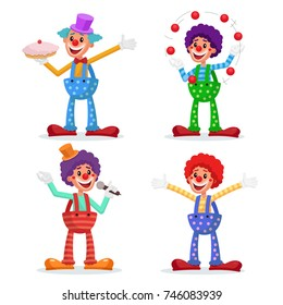 Circus Clowns Set Vector. Performance For Hilarious Laughing People. Amazing Public Circus Show. Man Juggling Balls. Isolated On White Cartoon Character Illustration