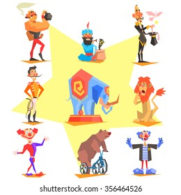 Circus collection with carnival, fun fair, vector icons illustration