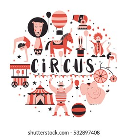 Circus collection with carnival, fun fair, vector icons and background and illustration Colored icons collection. Circus concept