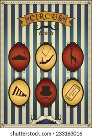 Circus. Collection of vintage icons. Vector illustrations.
