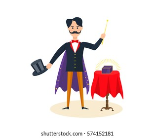 Circus concept. Magician with a cape on his shoulders and with a magic hat, entertains and amuses the audience, showing magic tricks, amazing rooms. Vector illustration isolated on white background.
