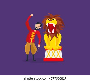 Circus concept. Tamer in traditional clothes, entertains the audience, showing dangerous, amazing, sometimes terrifying tricks, numbers with the lion. Vector illustration isolated on dark background.