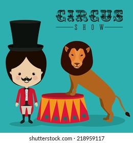 Circus design over green background, vector illustration