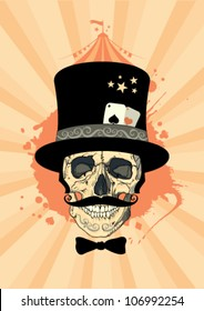 Circus design template with skull of a magician