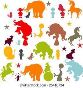 Circus elements like elephants, horse, lion, seal, dog, bear, monkey and boys and girls