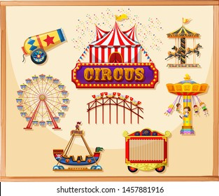Circus elements for poster including canon, cage, games and rides illustration