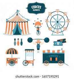 Circus elements set isolated on white, Circus elements
