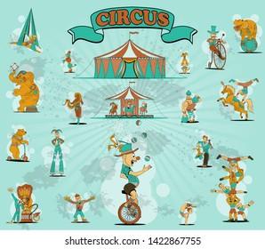 Circus elements set: tent, air gymnastics, gymnast on horse, elephant on ball, lion with tamer, strongman, jugger, hippo, snake girl, carousel