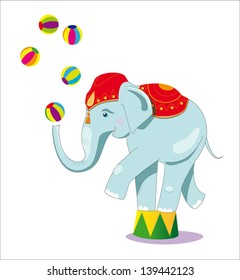 Circus elephant as acrobat, card concept, vector illustration, white background