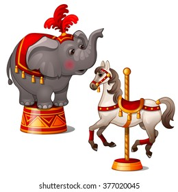 Circus elephant and rocking horse. Vector.