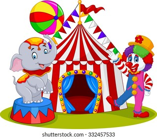 Circus elephant with a striped ball stands and clown on the carnival background