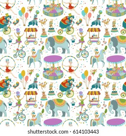 Circus Entertainment. Collection of circus performance related items, elements and characters, vintage circus, seamless pattern, Vector