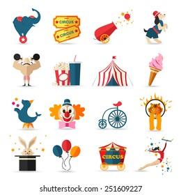 Circus entertainment  icons set. Flat style design. Vector illustration.