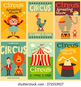 Circus Entertainment Posters Retro Set. Cartoon Style. Circus Animals and Characters. Vector Illustration.