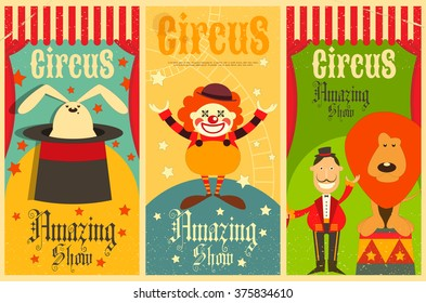Circus Entertainment Posters Vintage Set. Cartoon Style. Circus Animals and Characters. Vector Illustration.