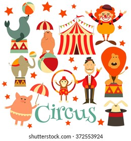 Circus Entertainment Symbols Icons Set. Cartoon Style. Circus Animals and Characters. Vector Illustration.